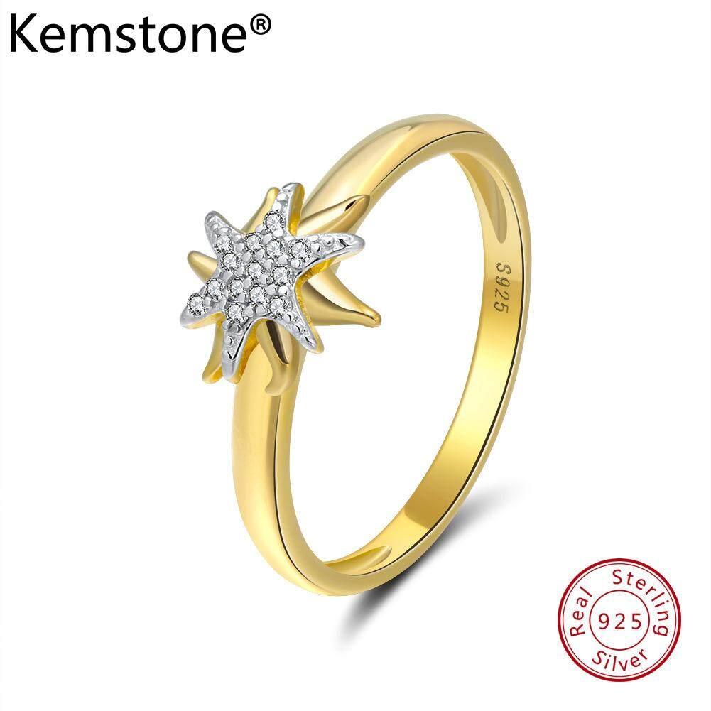 Kemstone Kreatif 925 Perak Berkilau Gold Berlapis Bintang Cincin untuk Wanita