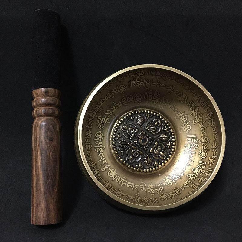 12cm New Design Nepal Chakra Yoga Singing Bowl Buddhism Brass Tibet Mantra Singing Bowls with Leather Stick and Cushion