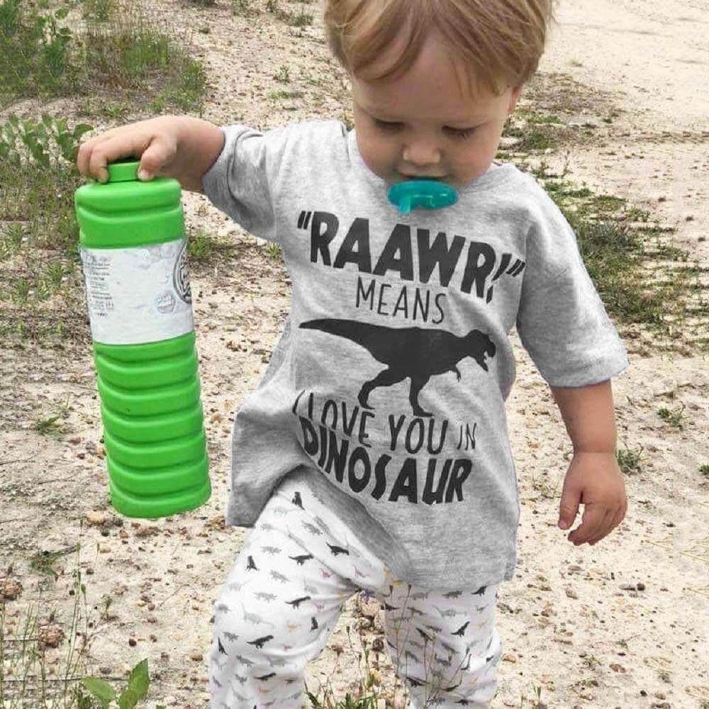 Lazadacarell Toddler Kids Baby Boy Letter T shirt Tops Dinosaur Pants Clothes Outfits Set
