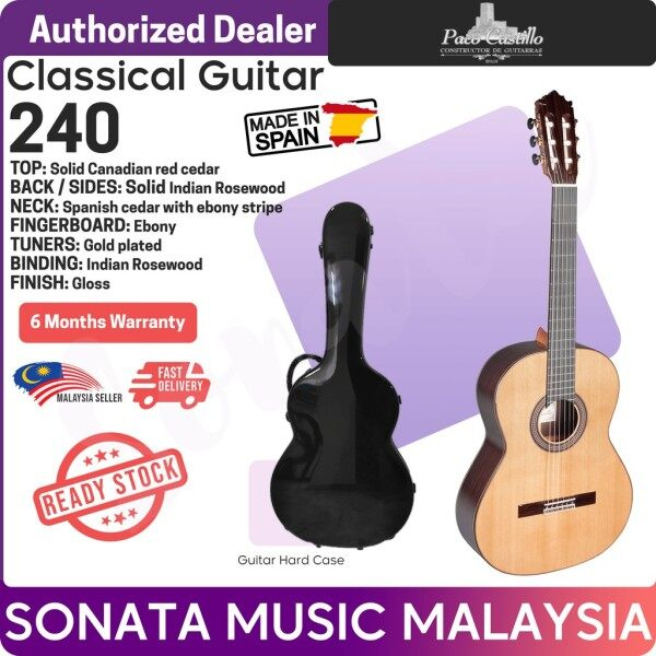 Paco Castillo 240 SOLID TOP classical guitar WITH PROFESSIONAL HARDCASE. Malaysia