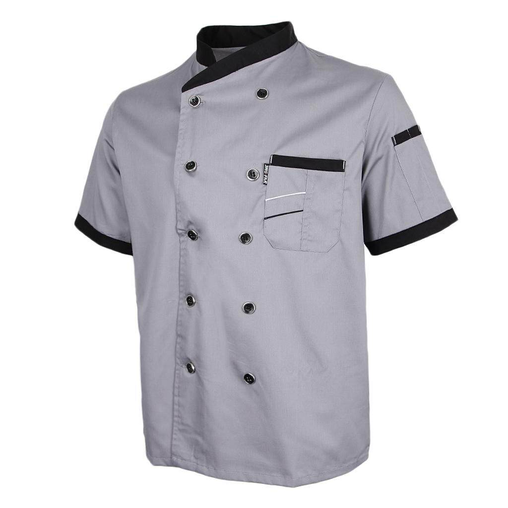 Blesiya Mens Women Chef Jacket Uniform Short Sleeve Hotel Kitchen Apparel Cook Coat