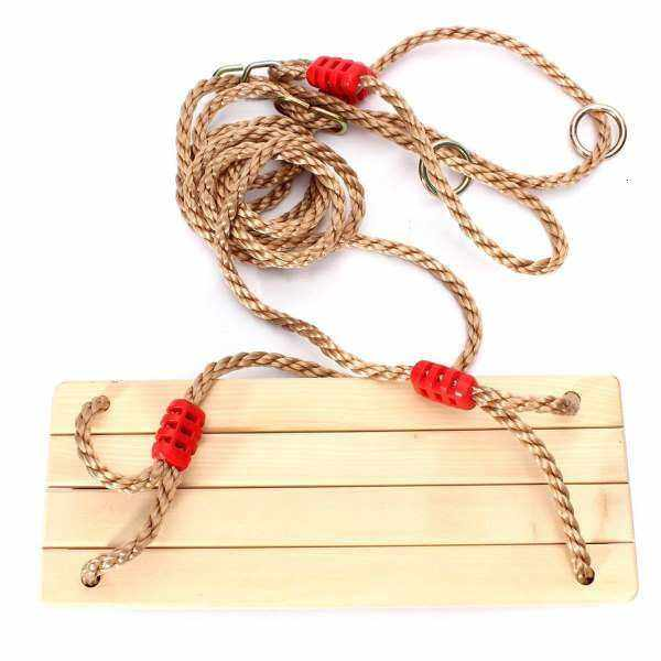 Wooden swings for children and adults with ropes for outdoor garden swings