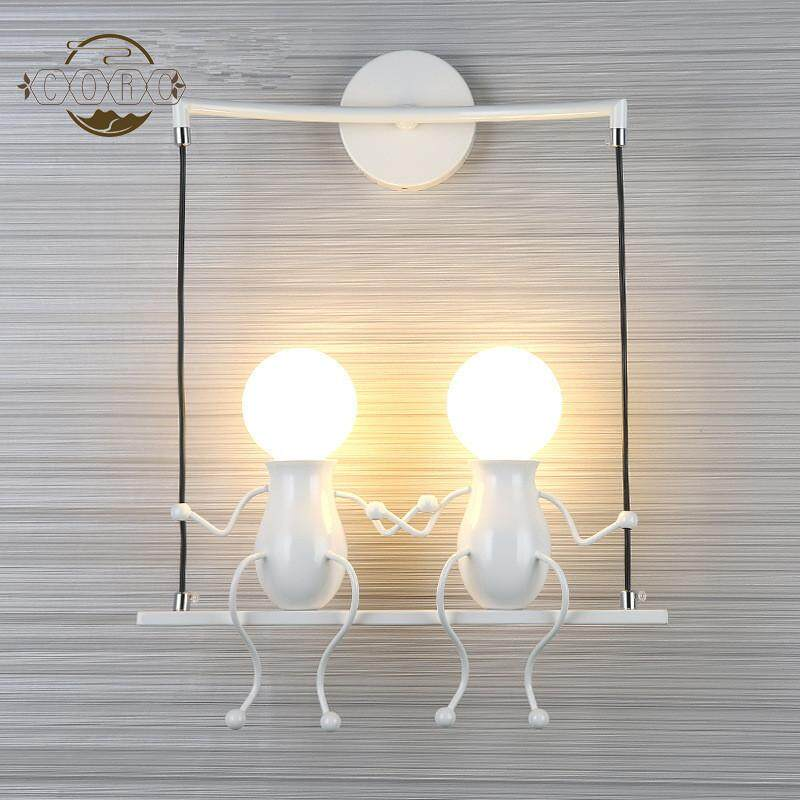 Kids Cute Double Head Shape Wall Lamp Holder for Bedroom Decoration (Without Bulb)