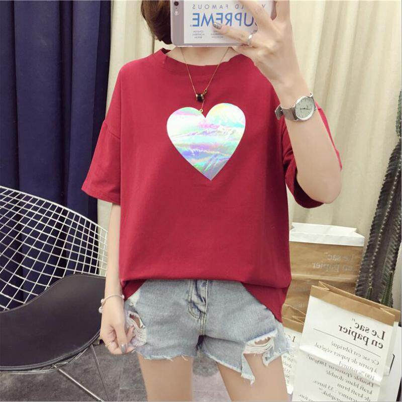 9ae024e014f Summer New Fashion Women s T-Shirt Heart Shape Printed Short-Sleeve Loose T-