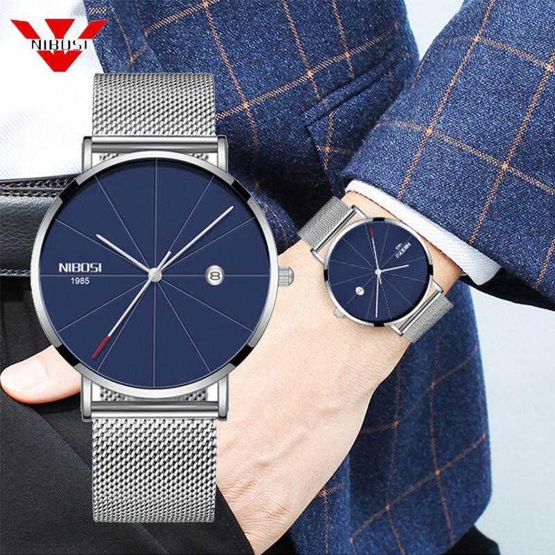 NIBOSI Luxury Watches Men Stainless Steel Ultra Thin Watch Men Classic Quartz Date Mens Wristwatch Famous Clock + Free Original Box Malaysia