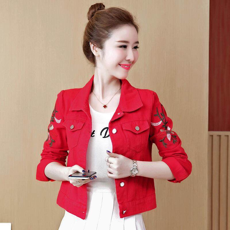 ef320553cd1 Spring Autumn Women Red Denim Cotton Jacket Embroidery White Slim Coat  Turn-down Collar Casual