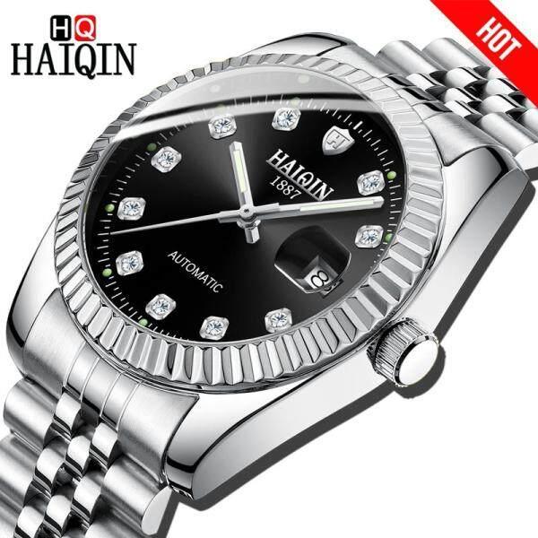 HAIQIN Men Watch Automatic Mechanical Luxury Business Watch Men Steel Military Waterproof Watch  Gold Gifts Malaysia