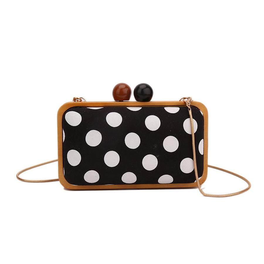 Vintage Polka Dot Design Messenger Bag Fashion Wood Style Womens Party Clutch Bag Chains Purse Ladies Mini Shoulder Bag Flap