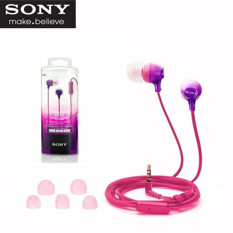 Original Sony MDR-EX15AP Headphone 3.5mm Jack Wired Earpiece Earphones Gaming Earbud Handsfree Headset Headphone with Mic For iOS Android iPhone Huawei Samsung Xiaomi OPPO Vivo Singapore