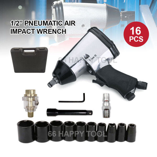 16pcs 1/2 Inch Pneumatic Air Impact Wrench Set with Impact Sockets and Blow Mold Case Spanner Kit