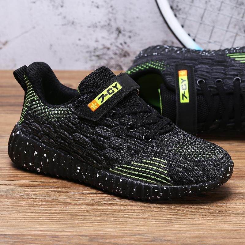 9e66b14aefae7 Spring Non-slip Wear-resisting Kids Sneakers Boys Running Shoes Breathable  Flyknit Children Walking Shoes Students Fashin Sport Shoes
