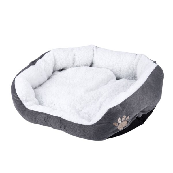 50 x 40cm Lambskin Dog Paw pattern Pets Nest Warm Washable Bed Sleeping Fleece Basket with Cushion For Puppy Dog Cat Gray Color