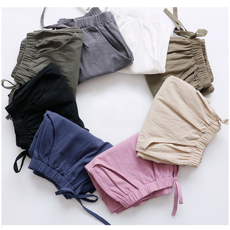 Topstudio 10 Colors Plus Size Linen Wide Leg Shorts With Bow Tie Elasticated Waist Loose Slim Cropped Hot Pants.