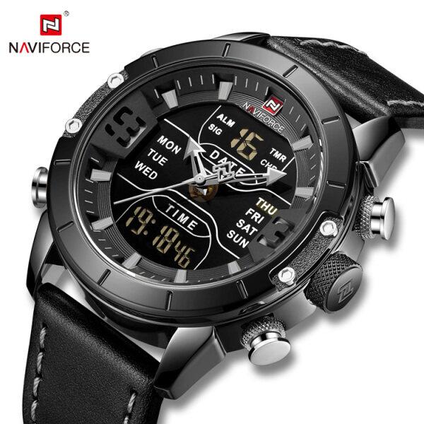NAVIFORCE NF9153L Mens Quartz Watch Luxury Brand Multifunctional Sports Digital Waterproof Mens Watch with Cowhide Strap Malaysia