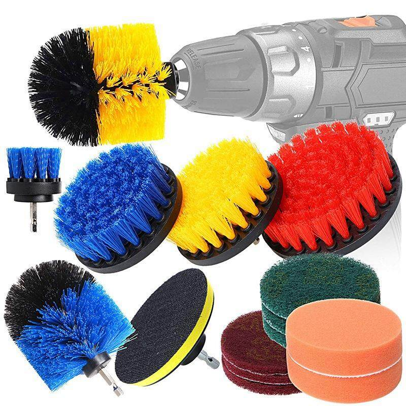 All Purpose Power Scrubber Cleaning Kit, Drill Brush Attachments Set Including Scrub Pads & Sponge for Grout, Tiles, Sinks, Bathtub, Bathroom, Kitchen & Autom 15Pcs