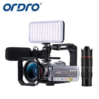 Máy Quay Video 4K Ordro AZ50, 1080P 60FPS Night Vision Máy Quay Phim Để Đăng Nhập Vlog YouTube Phát Sóng Trực Tiếp Với Đèn LED Micro Âm Thanh Nổi Ống Kính Góc Rộng Kính Viễn Vọng Zoom 12X, Hộp Đựng Nắp Đậy Ống Kính Thẻ SD 64G, 2 Pin thumbnail