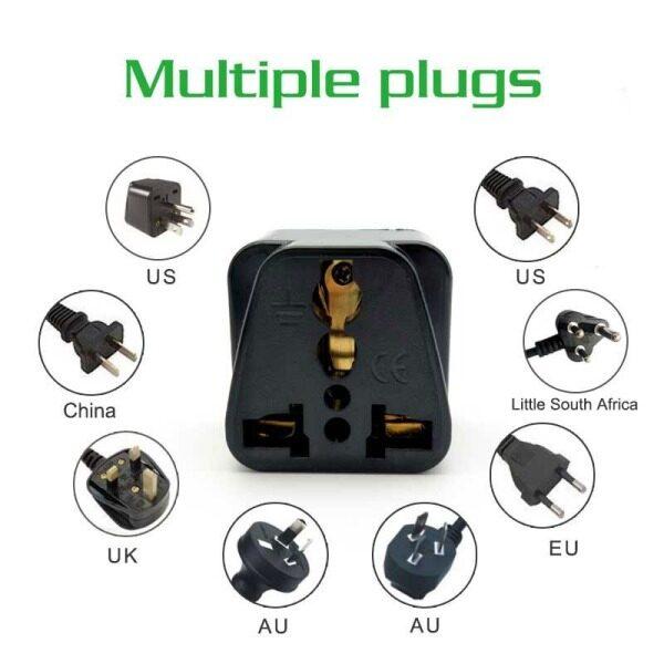 Narken Universal Full Copper 3 pin Adaptor Travel Plug for Malaysia UK Power Sockets China 2 Pin Adapter