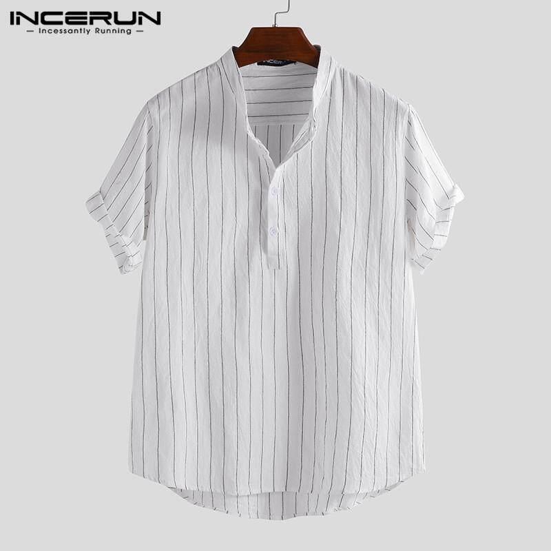 Mens Casual Short Sleeve Button Shirt Summer Striped Beach Holiday T Shirts Tops