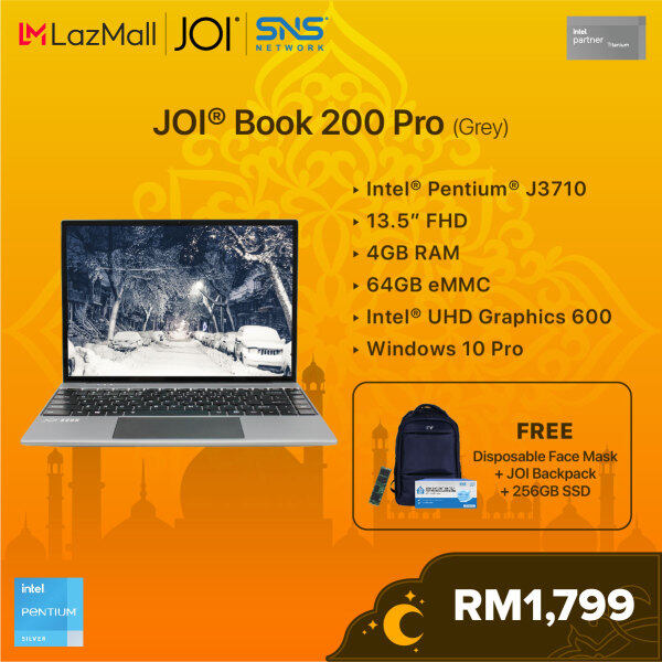 """JOI Book 200 Pro (Pentium J3710,4GB,64GB,13.5"""",W10Pro,GRY) + Free 256GB SSD + JOI Backpack [Choose Color] Malaysia"""