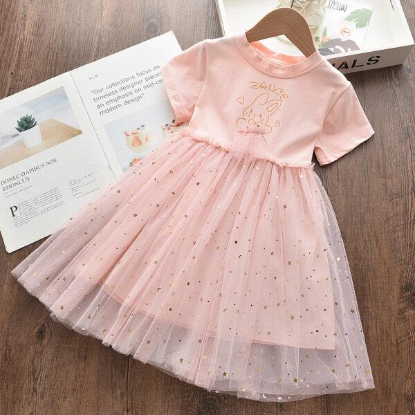 Đầm Nữ Ngọt Ngào Lãnh Đạo Gấu Đầm Công Chúa Thỏ Vải Bông Cho Trẻ Em Mùa Hè Mới 2020 Trang Phục Trẻ Em Đầm Đính Kim Sa Cho Bé 3 7Y