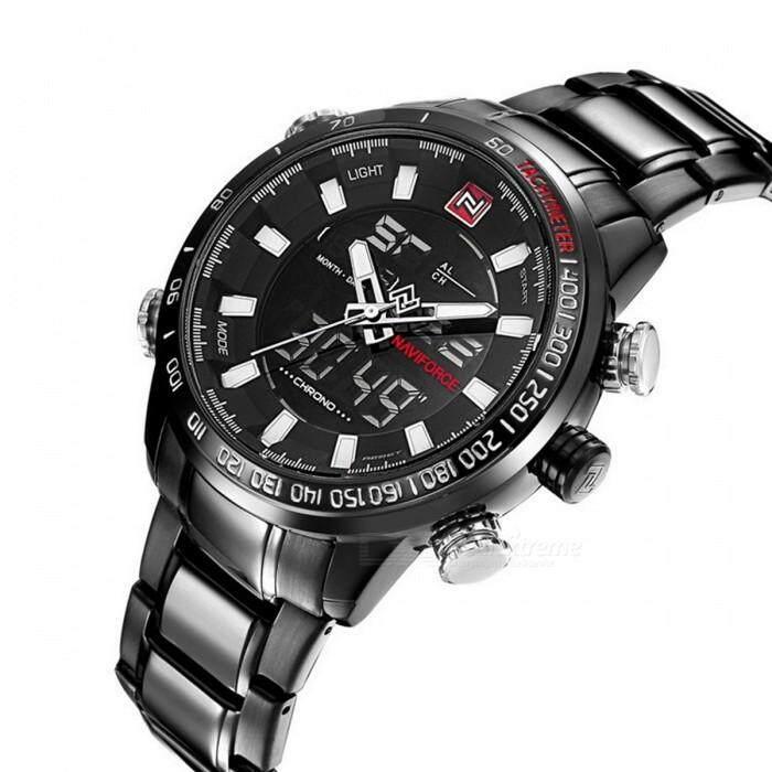 NaviForce 9093 Mens Sports Metal Wrist Quartz Watch - Black, White Malaysia
