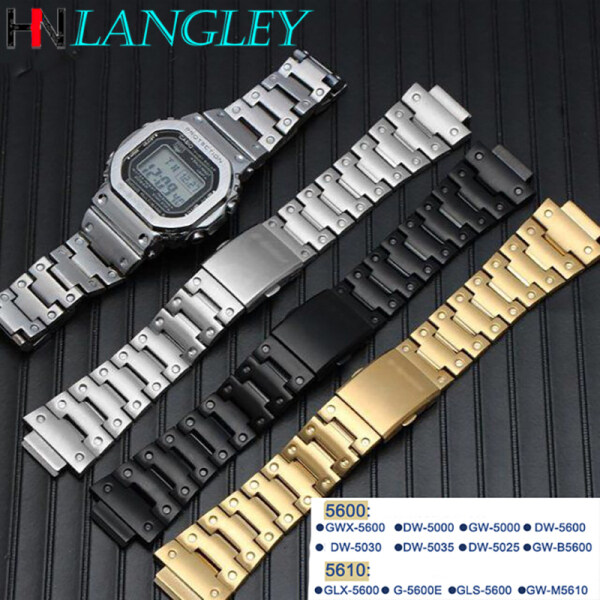 LANGLEY Watch Band Stainless Steel Watch Band for Casio Watch Case 5610 series/ GLX-5600/ G-5600-E/GLS-5600 Watch Strap for G-shock Accessories Band Men Watches Accessories bracelet Malaysia