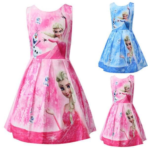 Giá bán Đầm Công Chúa Elsa Bé Gái-Đầm Hóa Trang Đông Lạnh Up Váy Xòe Xếp Nếp Cho Trẻ Em Thường Ngày