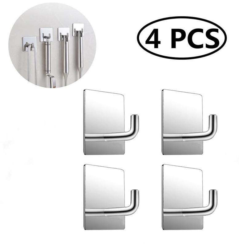 4 Pcs Stainless Steel Rectangle Mirror Strong Adhesive Wall Hook Seamless Stick Hook Kitchen Wall Hanger(Bright Light)