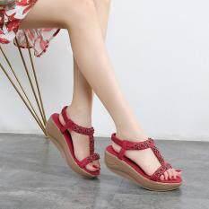 Giày sandal cao gót đế xuồng phong cách bohemia đính đá pha lê nữ tính KIO