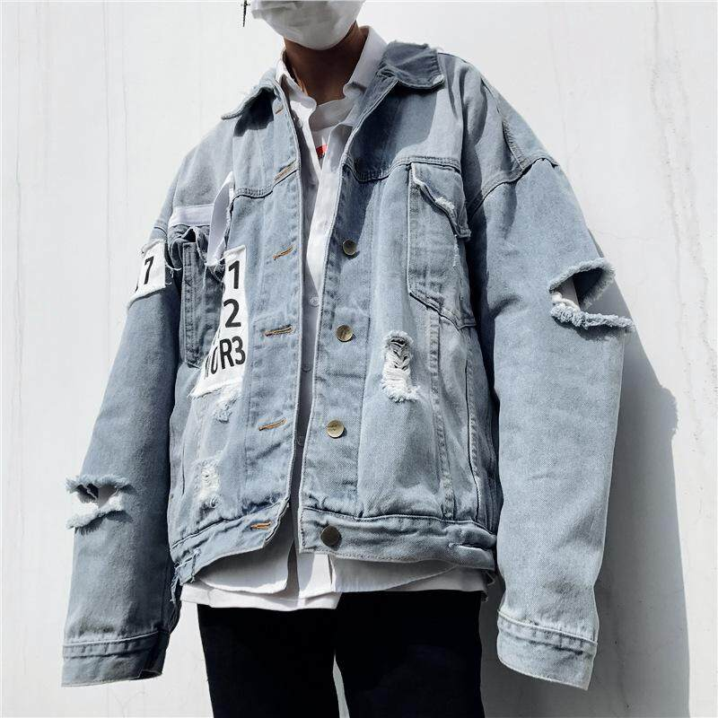 f31b6478644 Plus Size Denim Jacket Patches Hole Ripped Denim Jacket Men Loose Letter  Long Sleeve Jean Jacket