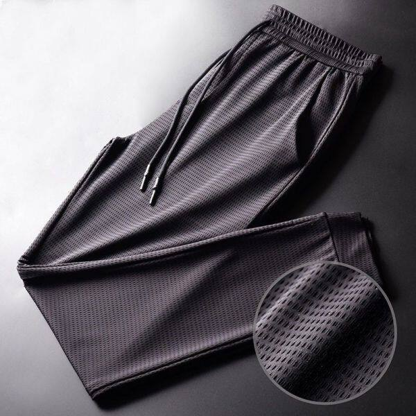 Summer Ice Silk Quick-Dry Pants plus Size Breathable Stretch Work Pants Casual Pants Mens Skinny Mesh Ankle-Tied Pure Black Trousers