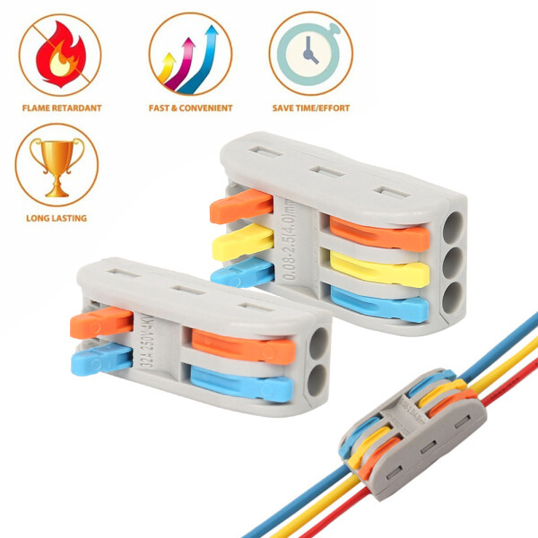YOU-BATHS 10pcs 2/3 Way Reusable Spring Lever Terminal Block Electric Cable Wire Connector