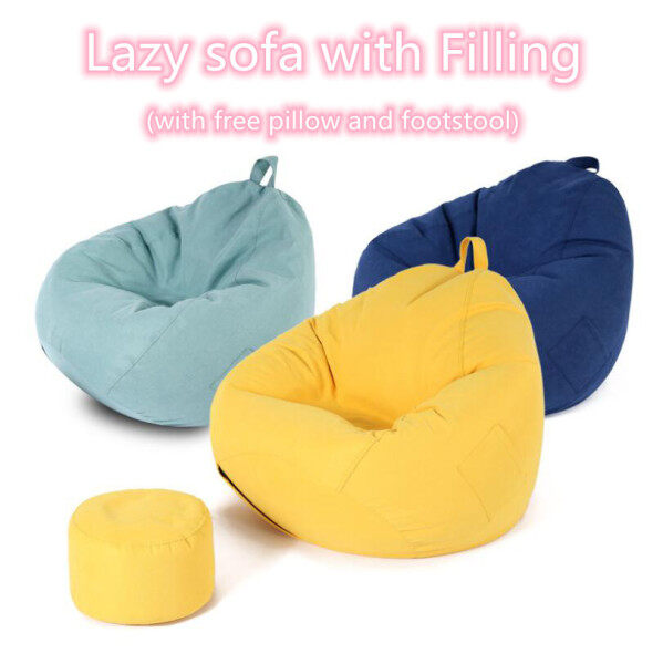 Large Lazy Sofas WITH FILLING Linen Cloth Lounger Seat Bean Bag Pouf Puff Couch Tatami with Free Pillow and Footstool
