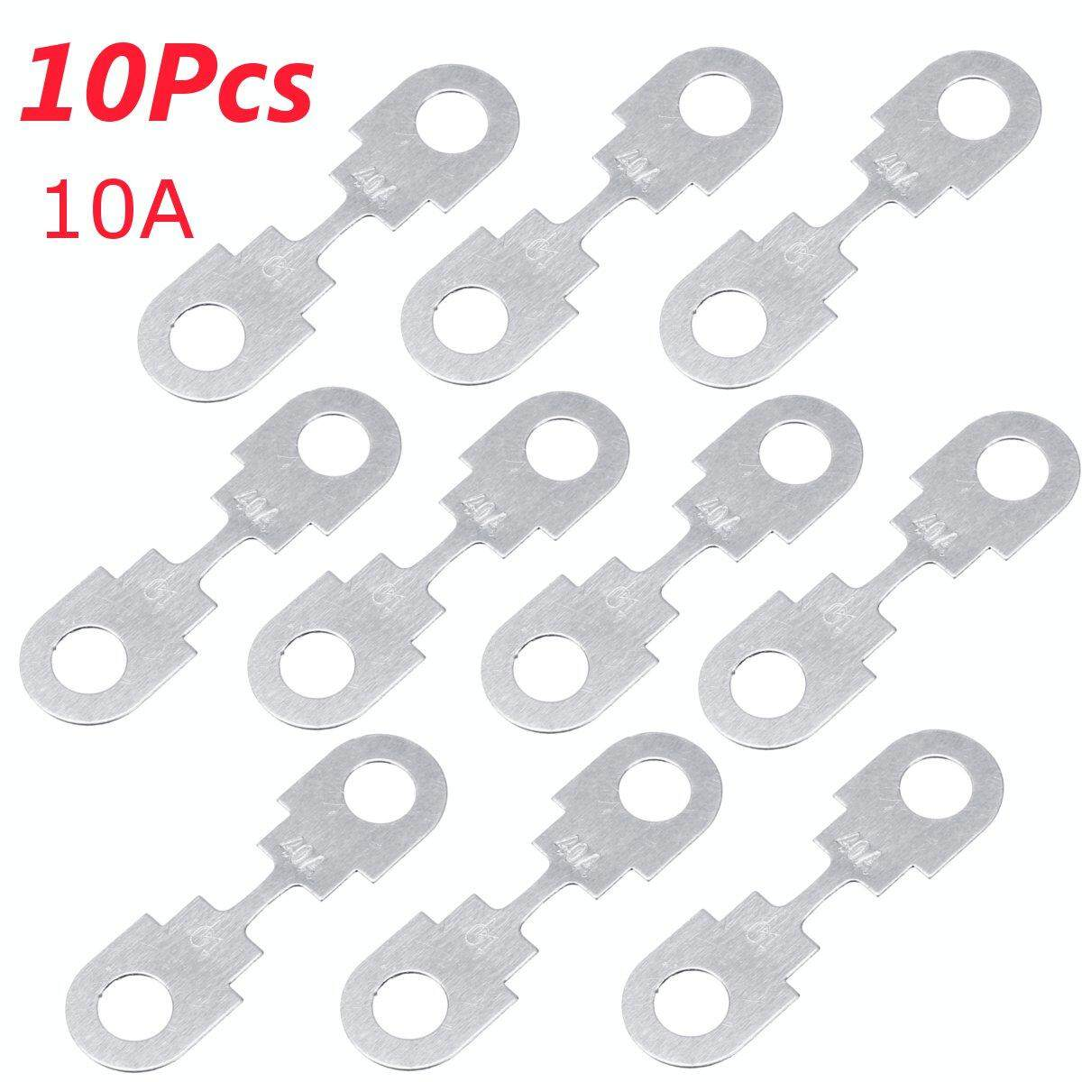 【free Shipping + Flash Deal】10pcs 12v 40a Silver Metal Fuse Strips Flat For Vw Audi Seat Ford By Freebang