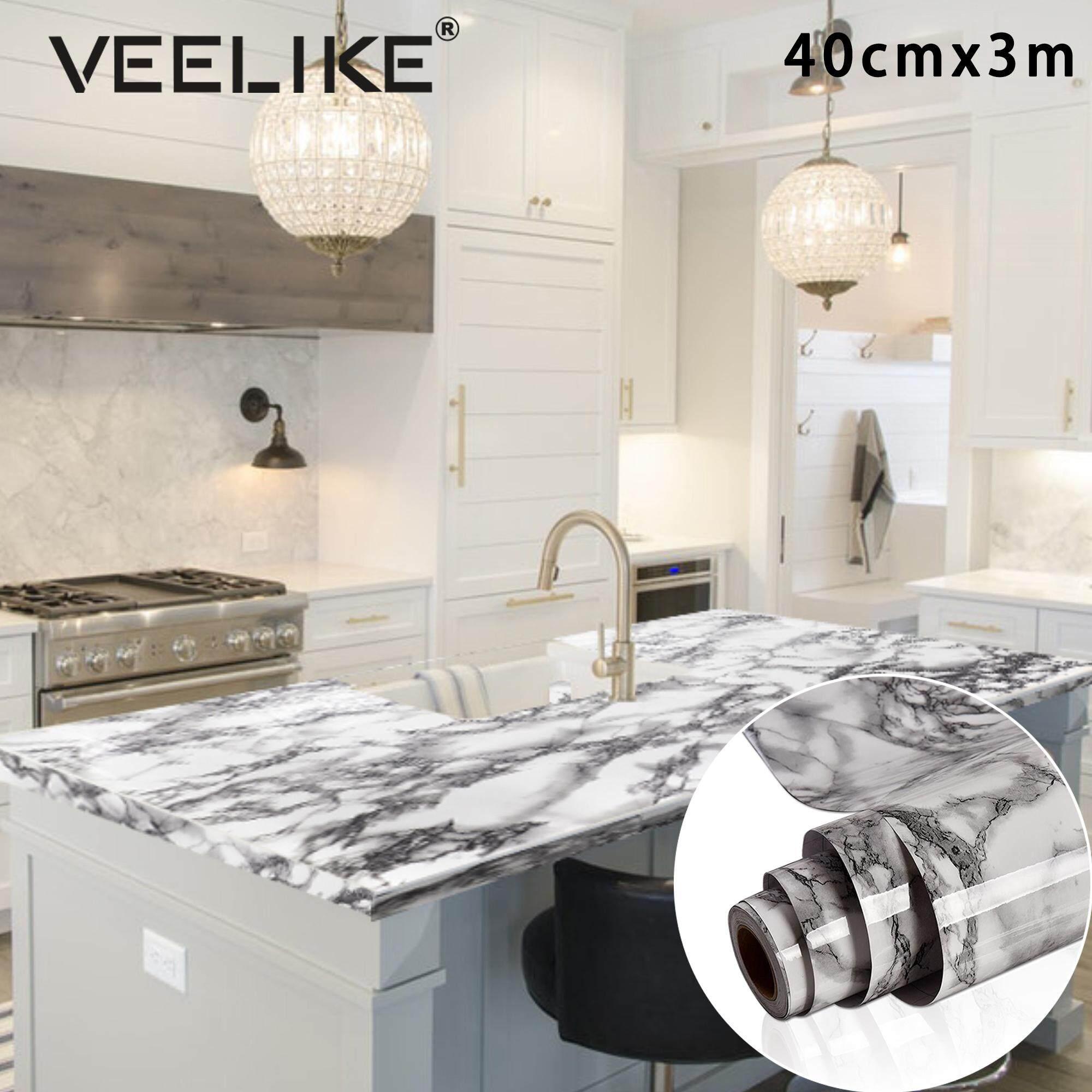 Countertop Self Adhesive Vinyl Film Marble Wallpaper Kitchen Cabinet Furniture Wallpaper Rolls Sheets Home Garden