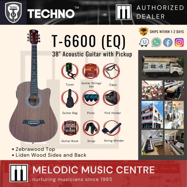 "Techno T-6600 EQ 38"" Semi-Acoustic Guitar with Pickup PACKAGE (Electro Acoustic Guitar / Acoustic Electric Guitar) Malaysia"