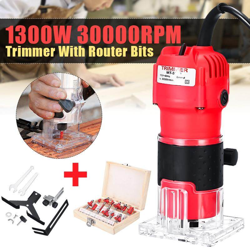 30000RPM 1300W 1/4 Inch 220V Electric Hand Trimmer With 12Pcs Router Bits Wood Working Laminate Palm Router Joiners Tool