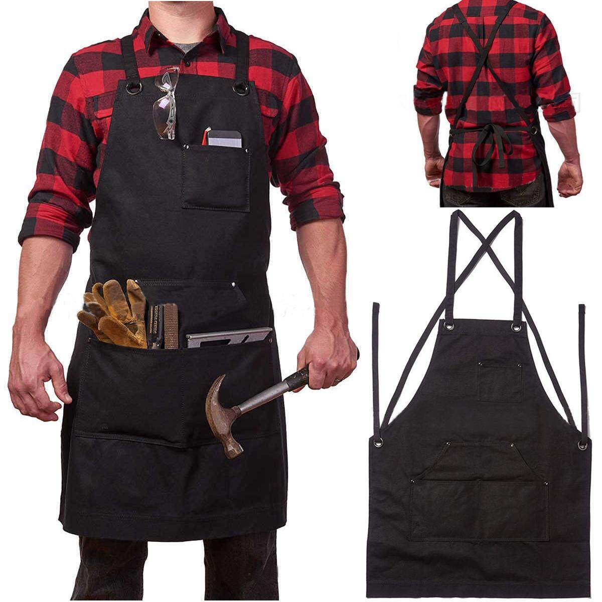 Heavy Duty Waxed Canvas Work Hobby Apron Large Pocket Fits Small to XXL Black Tool 【Free Shipping】