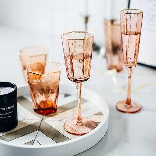 YOHOLOO Búa Lục Giác Cao Cấp Bắc Âu Sọc Ly Rượu Viền Vàng Tinh Thể Thủy Tinh Ly Rượu Sâm Banh thumbnail