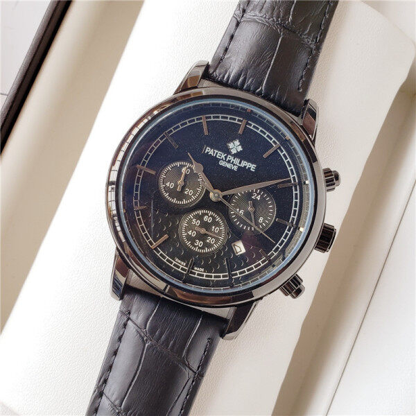 Original Patek Philippes Casual Sport Watches for Men Black Top Brand Luxury Business Leather Wrist Watch Men Women Clock Fashion Chronograph Quartz Wristwatch Malaysia