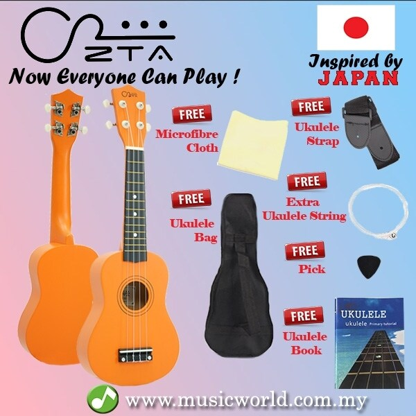 ZTA 21 Inch Soprano Wooden Hawaii Guitar Package with Bag Strap and Book (Orange) Malaysia