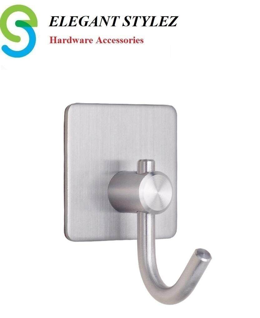 ELEGANT STYLEZ SUS304 Bathroom Kitchen Towel Hanger Wall Single Hook Stainless Steel Self Adhesive 10622
