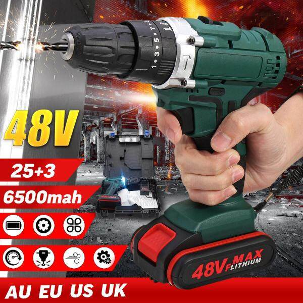 48V 6500mAh Electric Drill Double Speed Adjustment LED Lighting Green