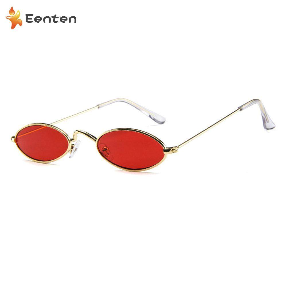359f1eeb95a2a Eenten Vintage Slender Oval Sunglasses Sexy Women Men Shades Fashion Small  Metal Frame Candy Colors