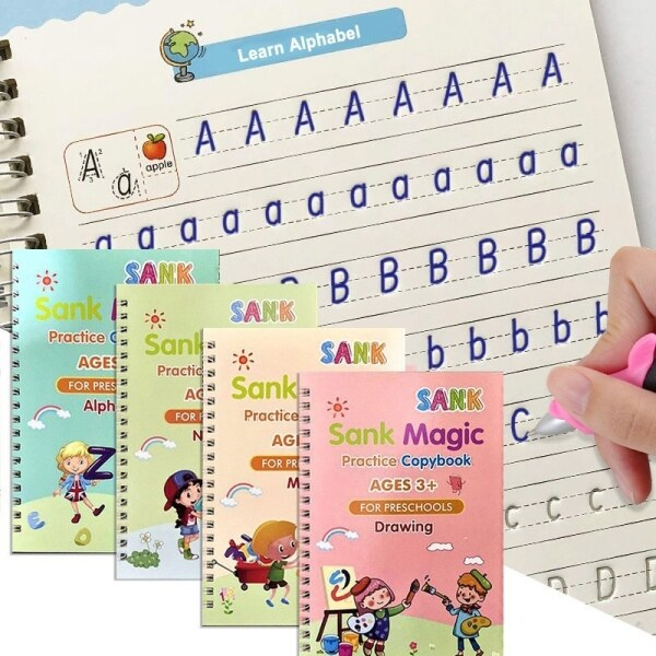 4 Books/Set Calligraphy Books Kids English Workbook Kids Early Learning Copybook Writing Practice Magic Copy book (with Free Pen) Malaysia