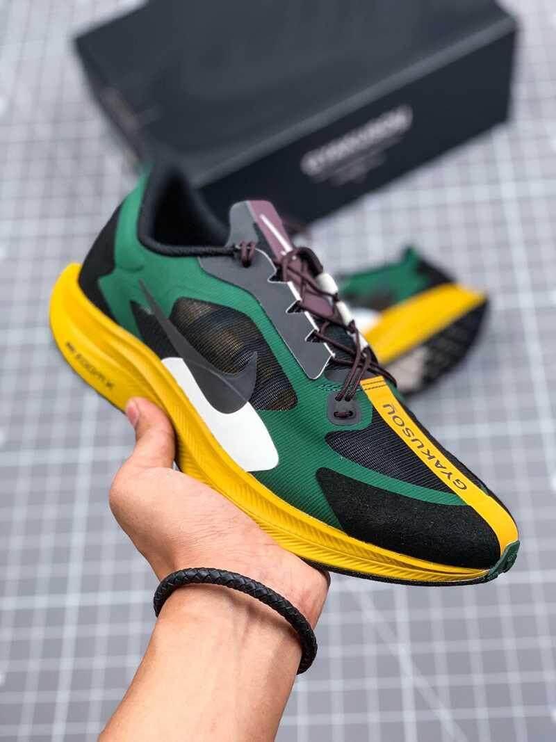 Asli Undercover_Gyakusou X Nike_Zoom_Pegasus 35 Turbo Pria Berlari Sepatu Sneakers Ringan Bernapas Kasual Olahraga Sepatu Hijau/Hitam/ kuning/Putih BQ0579-300