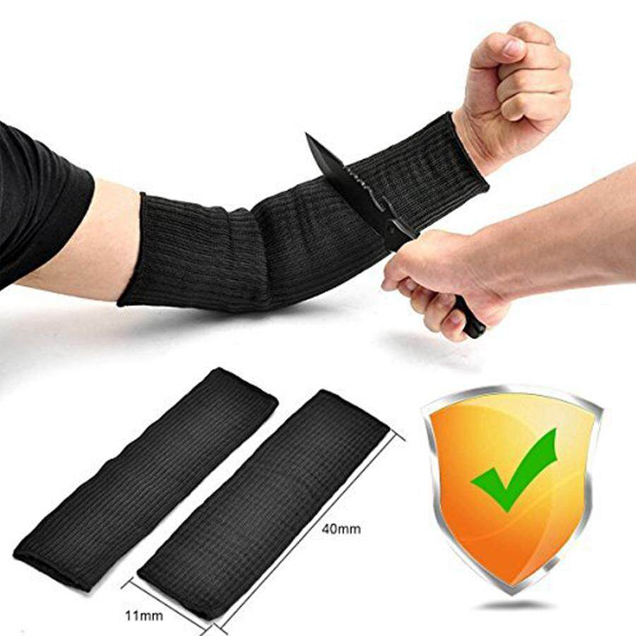 Arm Protection Sleeve, Kevlar Sleeve 40cm Cut Resitant Burn Protective Anti Abrasion Safety Arm Guard for Garden Kitchen Farm Work 1 Pair (Black)