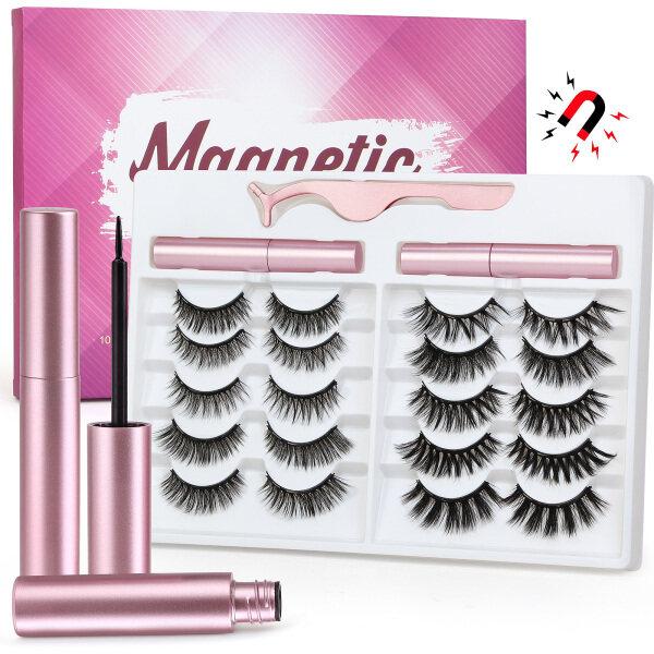Buy MAANGE Magnetic Eyelashes Set 10 Pair Magnet Liquid Eyeliner& Magnetic Lashes & Tweezer Eeyelashes(2 eyeliner) Singapore