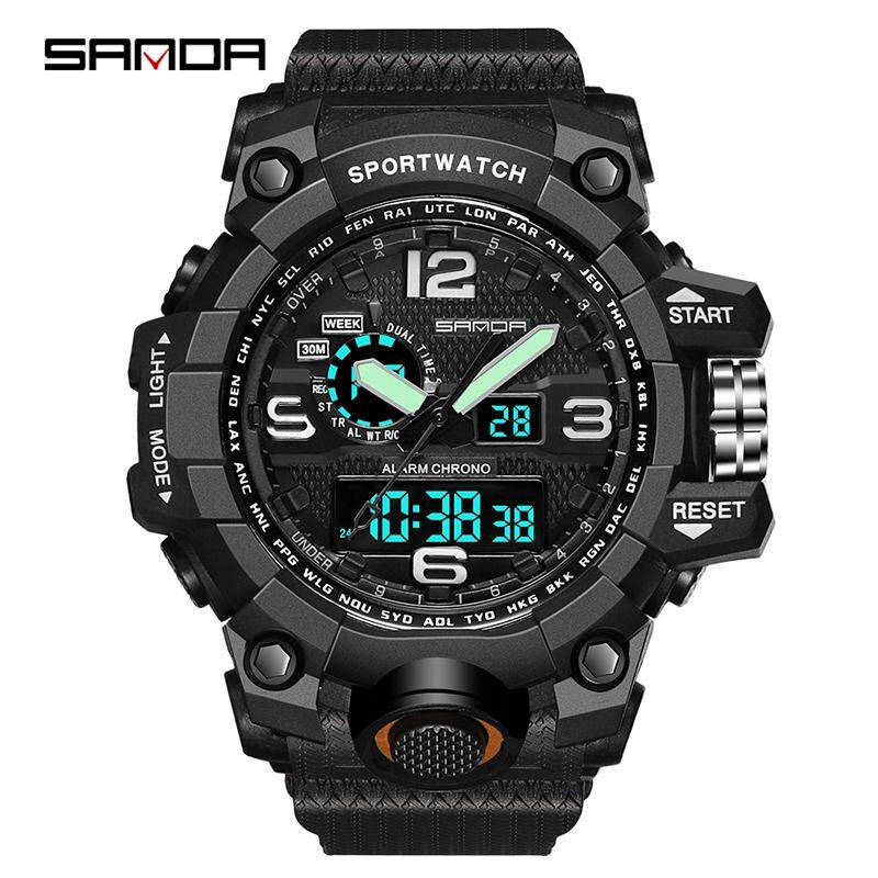 SANDA Brand Sports Watch Men Top Luxury LED Electronic Watch Men Digital Multifunctional Waterproof Fashion Analog Quartz Military Watch Jam Tangan Lelaki/Man Malaysia