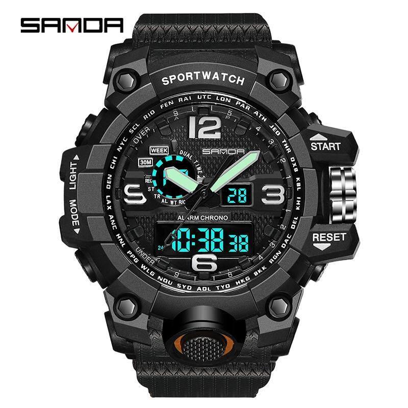 SANDA Brand Sports Watch Men Top Luxury LED Electronic Watch Men Digital Multifunctional Waterproof Fashion Analog Quartz Military Watch Jam Tangan Lelaki/Man Malaysia